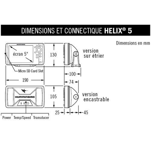 Humminbird Helix 5 G2 DI Combine Chirp Dimensions