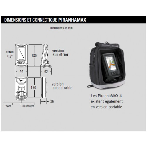 Humminbird Piranha Max 4 Dimensions