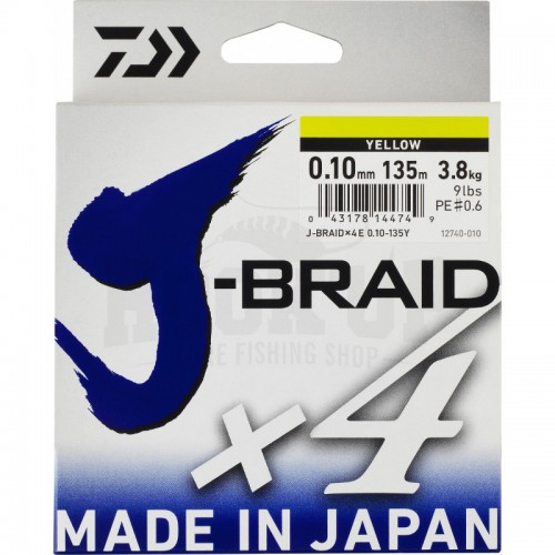 Daiwa J Braid X4 Tresse Jaune - 135M