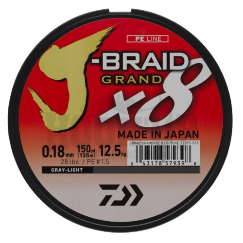 Daiwa J Braid Grand X8 Tresse Grise - 135M