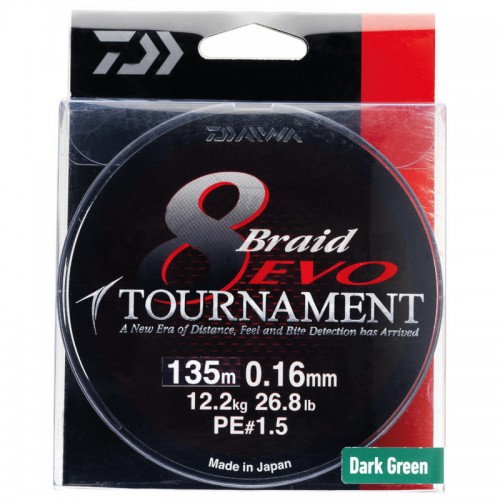 Daiwa Tournament 8 Braid EVO Tresse Dark Green - 135M